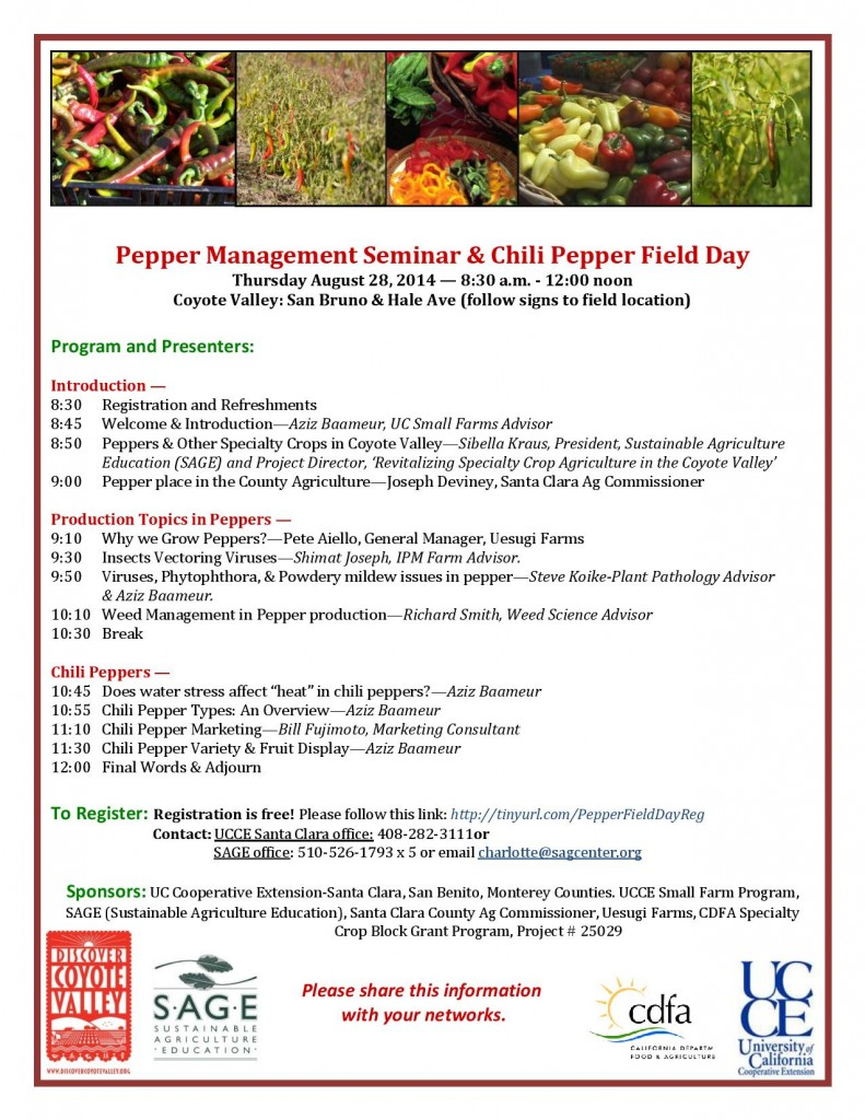 Pepper Management Seminar and Chili Field Day Flier